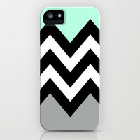 DOUBLE COLORBLOCK CHEVRON {MINT/BLACK/GRAY} iPhone Case by nataliesales | Society6