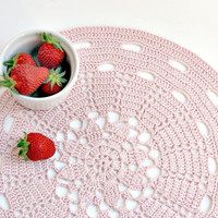 Dust pink placemat - Doily series - cotton