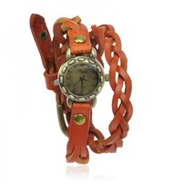 Braided Light Brown Leather Ropes Wrap Watch