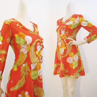 60s Dress Vintage MOD Bright Paisley Floral Chiffon Mini with Lucite buttons S M