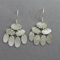 Dangle Silver Earrings - Sequins Earrings - Elliptical Discs - Sterling Silver Jewelry