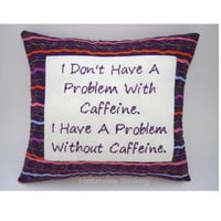 Funny Cross Stitch Pillow, Cross Stitch Quote, Purple Pillow, Caffeine Quote