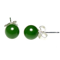 6mm Natural Nephrite Green Jade Ball Stud Post by 1000jewels