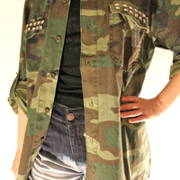 Studded Vintage Woodland Camouflage Fatigue Army Jacket - Free Shipping