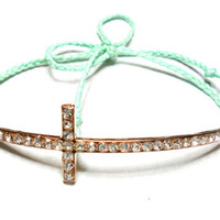 Mint Lavender Coral Salmon Sideways cross Braided Friendship Bracelets - waxed mint colored floss gold plated rhinestones sideway cross