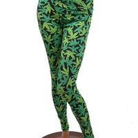 Pot Weed Marijuana Print Leggings