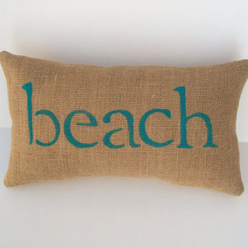 Decorative Pillows Beach Theme : burlap beach pillow, decorative aqua blue from whimsysweetwhimsy
