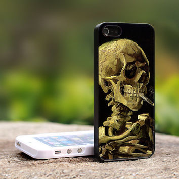 Van Gogh Skull With Burning Cigarette - Print on Hard Cover For iPhone 4/4S Case and iPhone 5 Case (Black, White, Clear)