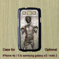 Han solo frozen -- Samsung Galaxy S3 case , Galaxy note 2  ase,  iphone 4S case , iphone 5 case