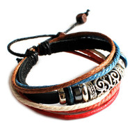 cuff wrist gift leather bracelet man bracelet women bracelet Leather bracelet and ropes bracelet ,tibetan silver  01025243