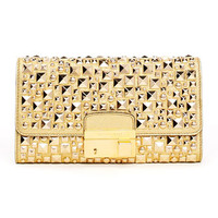Michael Kors Gia Studded Metallic Leather Clutch - Michael Kors