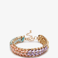 Rope &amp; Rhinestoned Chain Bracelet