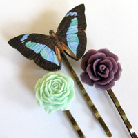 Floral bobby pins, flower hair pins with butterfly, mint green, plum purple, country bride, bohemian, woodland