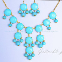 Light Blue Bubble Necklace and Bubble earrings, Bubble Bib Necklace, beadwork statement  necklace,Bubble Jewelry NBB02