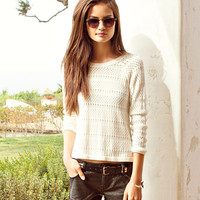 Pointelle High-Low Sweater | FOREVER21 - 2000034677