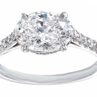 Engagement Ring - Oval Diamond Horizontal Engagement Ring Pave Gallery and band - ES1145