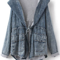 Blue Long Sleeve Cape Collar Hoody Drawstring Denim Coat | CozBest:lastest womens fashion clothing,shoes,dresses shop online