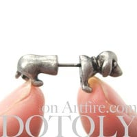 3D Tiny Fake Gauge Plug Puppy Dog Cute Animal Stud Earrings in Silver