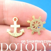 Anchor and Wheel Nautical Studs in Gold with Sterling Silver Posts from Dotoly Plus