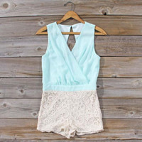Sea Crystal Romper in Mint, Sweet Women&#x27;s Bohemian Clothing