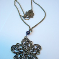 Brass Flower Necklace with Purple Dragon Vein Agate and Leaf Toggle Clasp