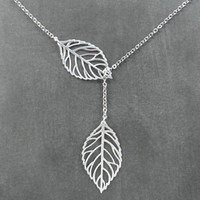 Autumn Leaves  Leaf Lariat Necklace  Silver by ElementOfNature