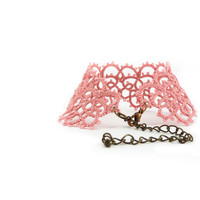 Lace bracelet dusty pink lace cuff by Decoromana on Etsy