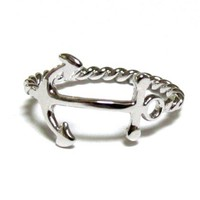 Anchor Ring-Rhodium Over Sterling Silver Ring W/ Twisted Rope Band