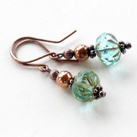 Aqua dangle earrings - blue green glass picasso Czech faceted bead & copper