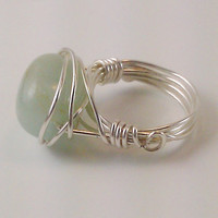 Silver Plated Aqua Marine Wire Wrapped Ring by TheSilverFindings