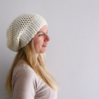 Women chunky crochet hat in ivory winter fashion, Clio Slouchy Hat, under 25