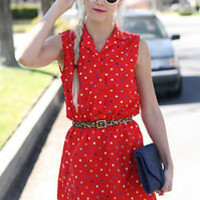 VTG 80s Red Colorful Polka Dot Print Dress w/ Elastic Waistband S/M | eBay