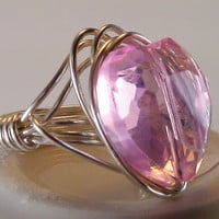 Silver Plated Pink Crystal Heart Wire Wrapped by TheSilverFindings