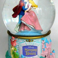 Fantasies Come True - Disney collectibles and memorabilia - Sleeping Beauty and Prince Phillip dancing at castle musical snowglobe - Fauna Flora Merryweather Prince Phillip Sleeping Beauty / Princess Aurora / Briar Rose