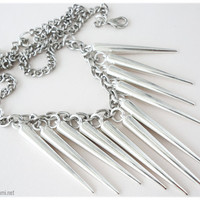 Oversized Silver Spike Statement Chain Necklace 