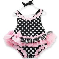Amazon.com: Mud Pie Baby-Girls Newborn Tres Jolie Ric Rac Ruffle Bubble Romper: Clothing