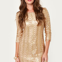 Bling Dynasty Gold Sequin Dress
