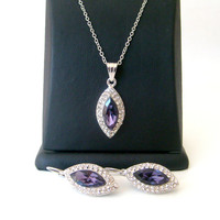Rhinestone crystal wedding jewelry set 925 sterling silver chain wedding jewelry bridal jewelry set bridesmaid gifts
