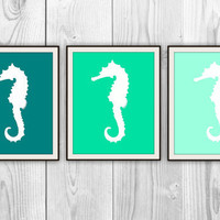 Seahorse Trio - Set of 3 8x10 Ocean Prints - Natical Home Decor - Bathroom, Bedroom, Beach House - more colors and sizes