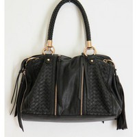 Woven Zippered Bag-Black