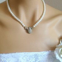 antique brass vintage style full strand ivory pearl classic bridal necklace wedding jewelry bridal jewelry