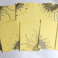 Hand Drawn Greeting Cards in Pastel Yellow - Set of 10 - Envelopes included