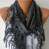 Gray Scarf    Pashmina Scarf   Headband Necklace Cowl by fatwoman