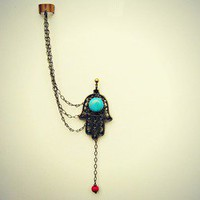 alapop  hamsa and turquoise single ear cuff earring