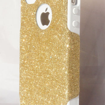 Cute Sparkly Glitter iPhone 4/4S Case Otterbox Commuter Series for Apple iPhone 4/4S Gold/White