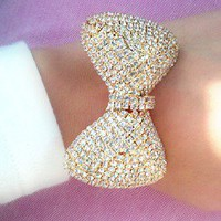 Pink Amore  XL Crystal Bow Bracelet