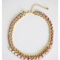 Dazzling Threaded Chain Necklace - MultiColor