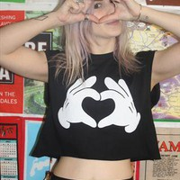 Printed &#x27;Mickey Heart Hands&#x27; T-shirt  from Loving Youth