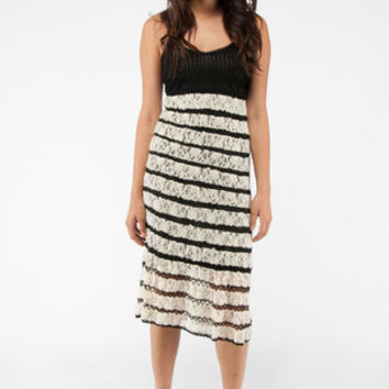 Free People Matte Rayon Crochet and Lace Dress in Black Combo :: tobi