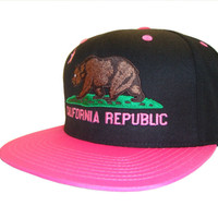 California Republic Snapback Snap Back Baseball Cap Caps Hat Hats Black Hot Pink